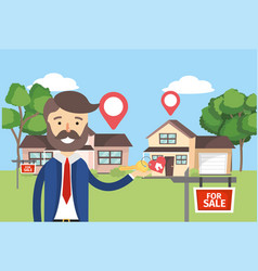 businessman with houses sale property and location vector image