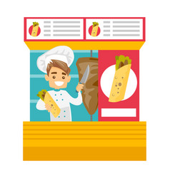 Caucasian white chef preparing shaurma in a kiosk vector