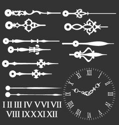 Clock face with variations of hands vector