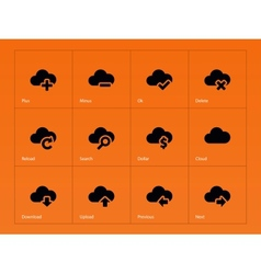 Cloud icons on orange background vector image