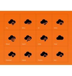 Cloud icons on orange background vector image