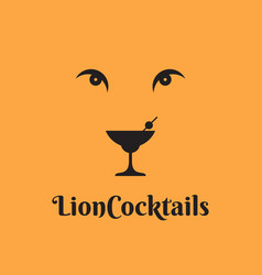 cocktail glass logo lion cocktail concept yellow vector image