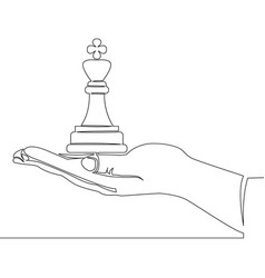 continuous line hand holding chess figure concept vector image