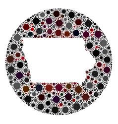 coronavirus stencils round iowa state map mosaic vector image