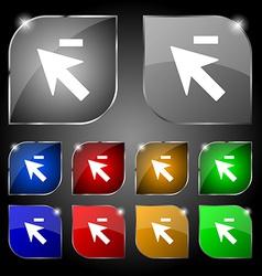 Cursor arrow minus icon sign Set of ten colorful vector image