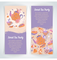 elegant set hand drawn tea and cakes banners vector image