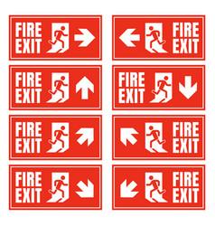 Emergency fire exit sign set exit door label vector