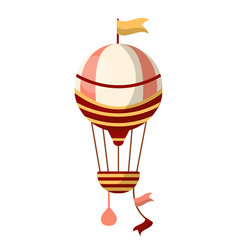 fancy air balloon with flag on top and striped vector image