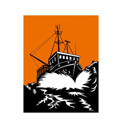 Fishing boat at sea vector