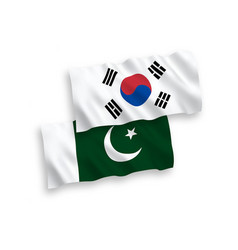 Flags south korea and pakistan on a white vector