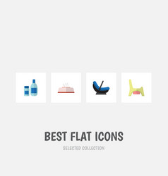 flat icon infant set of pram toilet cream with vector image