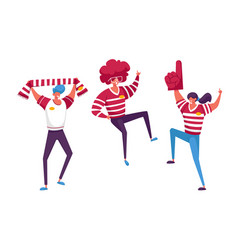 Football supporter fans characters cheering vector