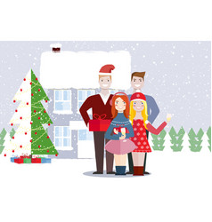 friends of a woman and a man christmas winter vector image