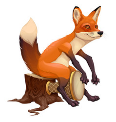 Funny fox is playing with the drum vector