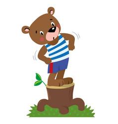 Funny strong little bear vector