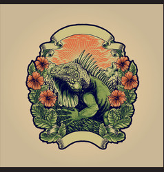 green iguana huge reptile animal with flowers vector image