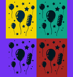 Greeting card set with lot of balloons and stars vector