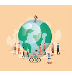 group of people with planet earth avatar character vector image