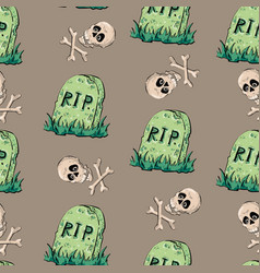 halloween seamless pattern design elements vector image