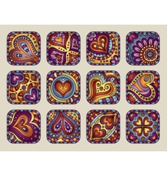 Hand-Drawn decorative Valentines day icons vector