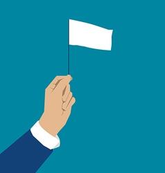 Hand holding white flag vector image