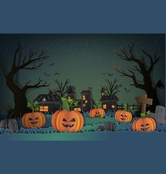 Happy halloween design paper style with pumpkin vector