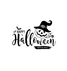 happy halloween message pumpkin and hat vector image
