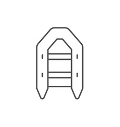 Inflatable boat line outline icon vector
