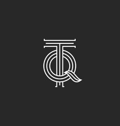 initials tq or qt creative old style monogram logo vector image