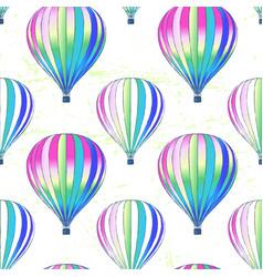 ink hand drawn air balloons seamless pattern vector image