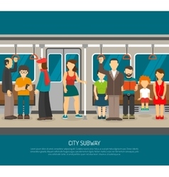 Inside subway train poster vector
