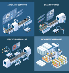 Intelligent manufacturing isometric design concept vector