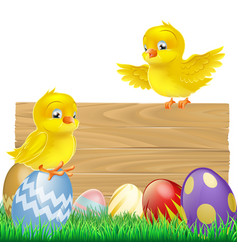 Isolated easter sign with eggs and chicks vector
