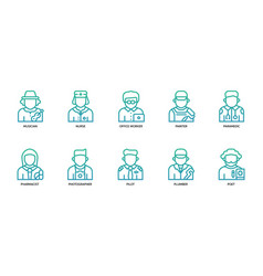 Jobs and occupations icons set vector
