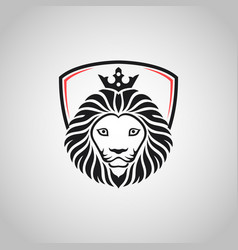 King lion head mascot on white background vector