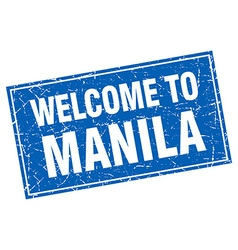 Manila blue square grunge welcome to stamp vector