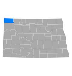 Map divide in north dakota vector