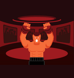 Mix martial art fighter roar on the ring vector