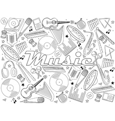 Music instruments coloring book vector image