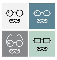 mustache and glasses icon vector image