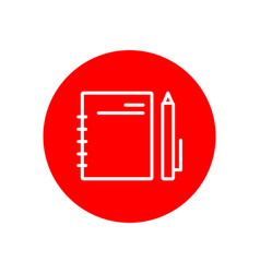 Notebook and pen office outline red icon design vector