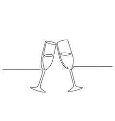 one line champagne toast continuous linear couple vector image