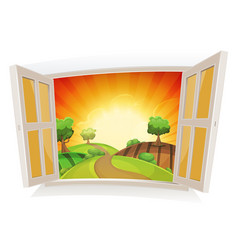 Open window on a summer rural landscape vector