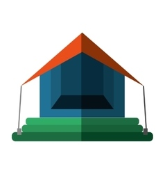 Orange and blue tourism tent camping excursions vector