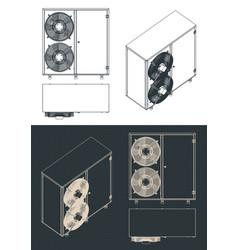 Outdoor unit of air conditioner blueprints vector
