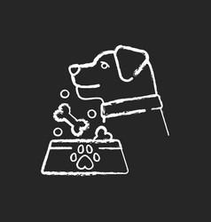 Pet feeding chalk white icon on black background vector