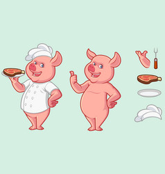 pig mascot design with optional accessories set vector image