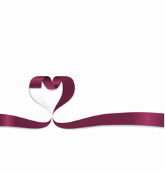qatari flag heart-shaped ribbon vector image