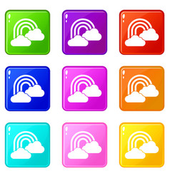 Rainbow and clouds icons 9 set vector