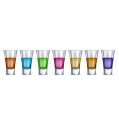 realistic detailed 3d shot glasses order set vector image